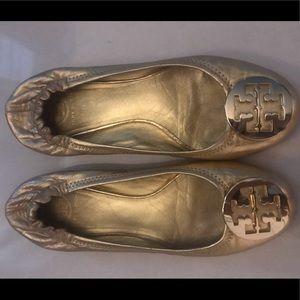 Tory Burch Reva Flats- Metallic Gold